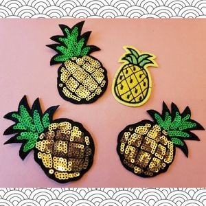 Crafty Pineapple Patch Lot Iron on Embroid Sequin